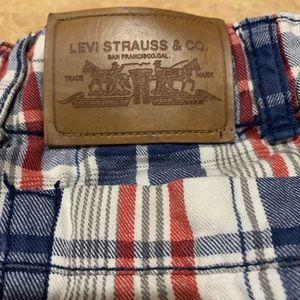 Levi's Boys Plaid Cargo Shorts Adjustable Waist